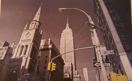 New York skyline. Colour and greyscale/sepia image. Great to hang on wall on canvas. Nice print Royalty Free Stock Photo