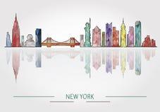 New York skyline detailed silhouette Stock Image