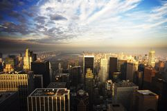 New York Skyline at dusk. New York City Skyline at dusk. Central Park can be seen in the far distance stock photo