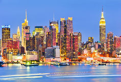 New York skyline at dusk Royalty Free Stock Photo