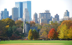 New York Skyline with fall foliage Royalty Free Stock Image