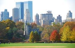 New York Skyline with fall foliage Royalty Free Stock Image