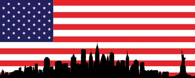 New York skyline and flag Royalty Free Stock Image