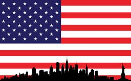 New York skyline and flag USA Stock Image