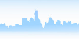 New York Skyline at Foggy Morning Royalty Free Stock Image