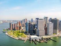 New York skyline. Helicopter flight on Manhattan Skyline in New York City of America Stock Photos