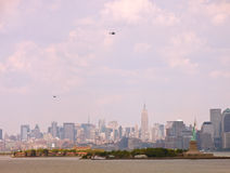 New York Skyline with Helicopters Stock Images