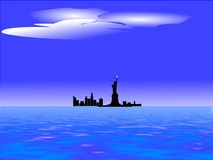New york skyline and lady liberty. Approaching new york from Europe and seeing lady liberty and new york sky line in distance Stock Photo