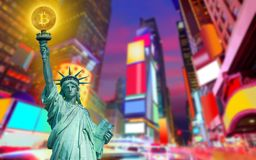New york skyline with liberty holding bitcoin. Concept photomount Royalty Free Stock Photo