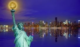 New york skyline with liberty holding bitcoin. Concept photomount Stock Photos