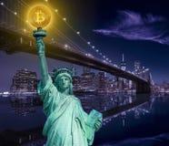 New york skyline with liberty holding bitcoin. Concept photomount Royalty Free Stock Image