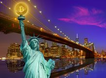New york skyline with liberty holding bitcoin. Concept photomount Royalty Free Stock Images