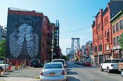 New York: skyline, Manhattan Bridge and murals on September 17, 2014 Stock Photography