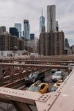New York skyline of Manhattan and brooklyn bridge stock photography