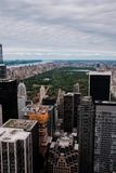 New York skyline of Manhattan and central park as seen from a high point as an aerial view stock image