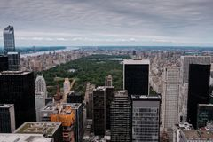 New York skyline of Manhattan and central park as seen from a high point as an aerial view stock photo
