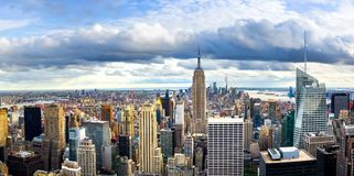 New york skyline and Manhattan panoramic view. With urban architecture stock images