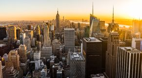 New York Skyline Manhatten Cityscape Empire State Building from Top of the Rock Sunset royalty free stock photography