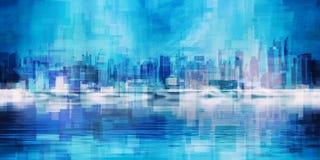 New York skyline. Modern Art. Manhattan, New York panorama in vivid blue colors Royalty Free Stock Image