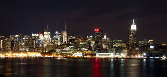 New York Skyline at Night Royalty Free Stock Image