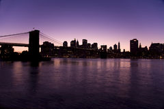 New York skyline at night. With the Brooklyn bridge taken from Brooklyn Stock Photos