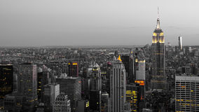New York skyline. By night - black and white with selective color Royalty Free Stock Image