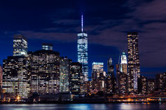 New York skyline at night in Manhattan. Iconic view of the New York skyline Royalty Free Stock Image