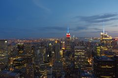 New York skyline at night. Top of the Rock view. stock photos