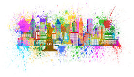 New York Skyline Paint Splatter Illustration. New York City Panorama Skyline Paint Splatter Isolated on White Background Color Illustration Royalty Free Stock Images