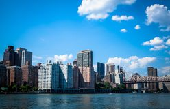New York Skyline. This is a picture taken from Roosevelt Island. The river is the east river with the east side of mid town. With 59th Street Bridge. Lovely blue Royalty Free Stock Photography
