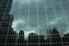 New York skyline reflected on windows Stock Images