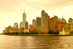 New York skyline seen from the Hudson Bay Royalty Free Stock Photo
