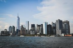 New York skyline seen from the sea stock image