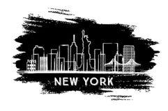 New York Skyline Silhouette. Hand Drawn Sketch. royalty free illustration
