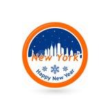 New York skyline silhouette in snow globe. Stock Images