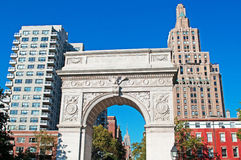 New York: skyline, skyscrapers and Washington Square Arch on September 15, 2014. New York City, Nyc, the Big Apple, Manhattan, United States of America, Usa: the Stock Image