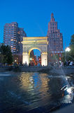 New York: skyline, skyscrapers and Washington Square Arch on September 15, 2014. Washington Square Arch is a marble triumphal arch built in 1892 in Washington Stock Photos