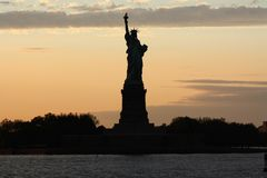 Background for postcard Statue of Liberty in New York city. New York skyline and statue of freedom stock photo