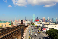 New York skyline and subway  train Stock Photo