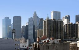 New York skyline in sunny ambiance Royalty Free Stock Images