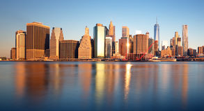 New York skyline at sunrise, nobody, USA Royalty Free Stock Photos