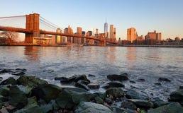 New York skyline at sunrise, nobody, USA Stock Image