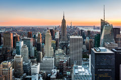 New York Skyline at sunset Stock Images