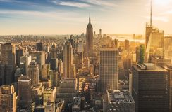 New York skyline at sunset royalty free stock images