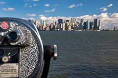 New York Skyline and Telescope Stock Photo