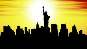New york, skyline, timelapse sunset stock footage