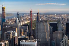 New York skyline from the top view at sunset. close up.  stock photography