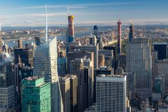 New York skyline from the top view at sunset. close up.  royalty free stock image