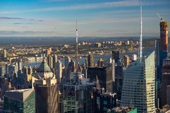 New York skyline from the top view at sunset. close up.  stock images