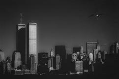 New York Skyline. New York (1989). Skyline with the Twin Towers royalty free stock photo